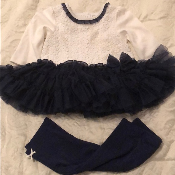 Little Me Other - White and navy dress with leggings